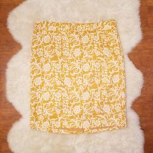 NWT LOFT Mustard Yellow Floral Elegant Skirt Sz 12
